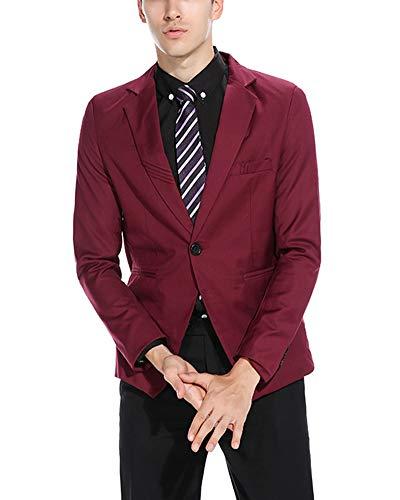 Revers Homme Boutonnage Soirée Dîner Fit Rouge Simple Pour Blazer Veste Slim Vin r5EW0rfq8