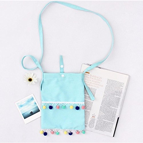Body Blue Messenger Shoulder Canvas Student Tassel Bag Bag Women Ball GBSELL Cross A4Ozqz