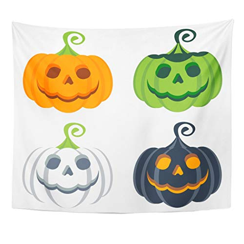 Emvency Wall Tapestry Orange Costume of Halloween
