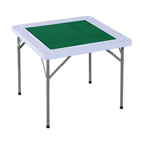 HOMCOM 3'x3' 4-Player Mahjong Game Portable Folding Table for Poker Dominoes Card with Cup and Coin Holders (Vegas Las Outdoor Furniture Store)