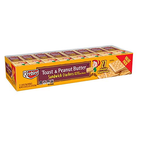 Keebler Toast and Peanut Butter Sandwich Crackers, Value Pack, Single Serve, 1.38 oz Packages(27 Count)