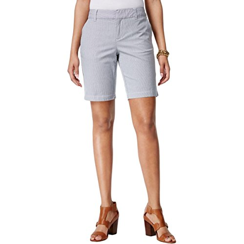 Tommy Hilfiger Womens Striped Textured Bermuda Shorts Blue