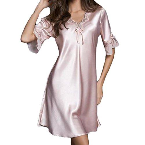 pigiampo raso da seta notte della indumenti sexy del ricamo delle Pink camicia sexy da mezza manica del donne da della di camicia Lingerie del notte della notte Juleya FnUqagSwx