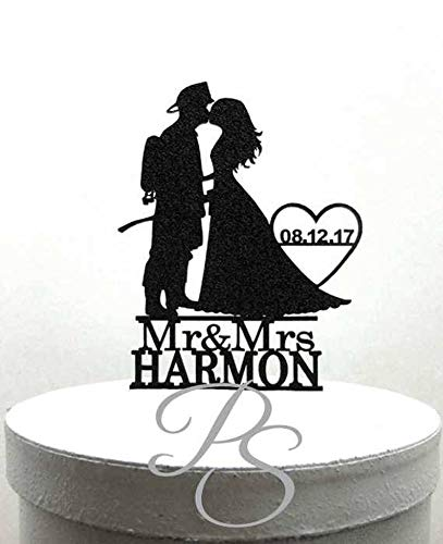 Personalized Wedding Cake Topper Firefighter and Bride 2 Silhouette with Mr & Mrs name and wedding date]()