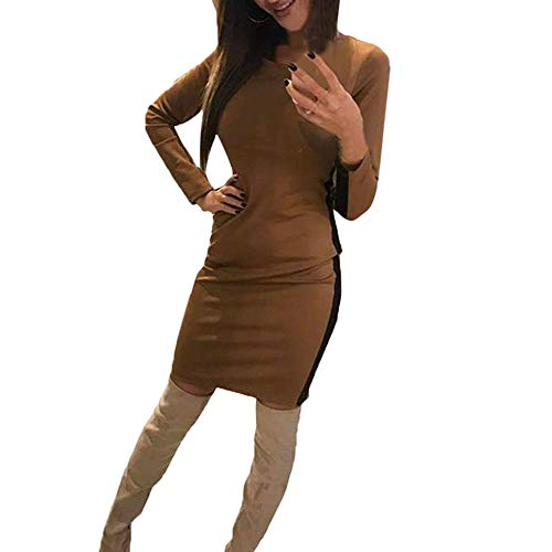 kaifongfu Casual Dress for Women O-Neck Ladies Long Sleeve Mini Dress for Pary(Khaki,L)