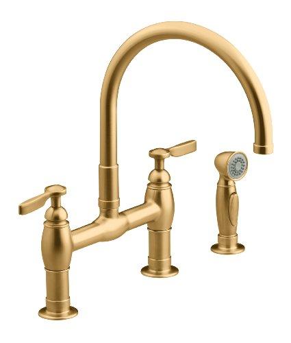 KOHLER K-6131-4-BV Parq Deck-Mount Kitchen Faucets with Spray, Vibrant Brushed Bronze