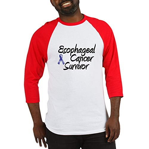 CafePress Esophagael Cancer Survivor Baseball Jersey Cotton Baseball Jersey, 3/4 Raglan Sleeve Shirt Red/White