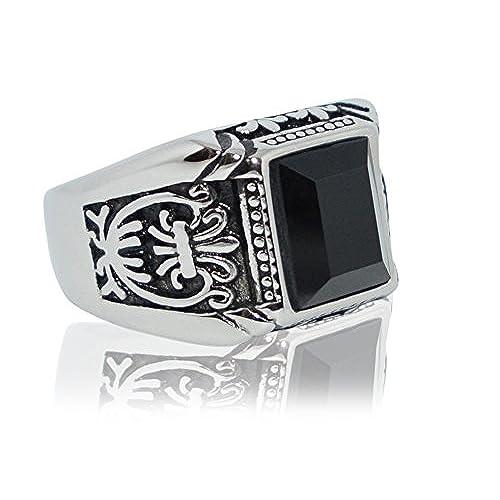 7213fd7727cf De alta calidad Anillo de acero inoxidable y plata blanca con piedra negra  para hombres