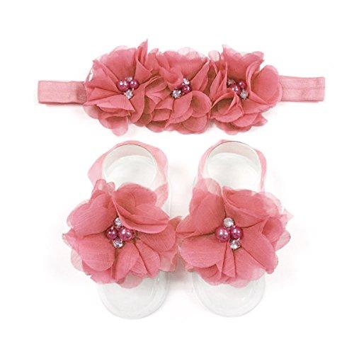 Flower Watermelon - LD DRESS Baby Girl Foot Flower + Headband (watermelon red)