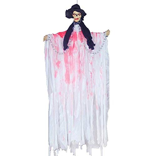 Party DIY Decorations - 1 Piece Terrible Glow Hanging Ghosts Halloween Party Decorations Haunted House Props Horror Hanging Ghosts Voice Control Toys (White)]()