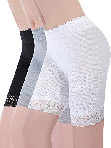 3 Pieces Lace Shorts Underwear Yoga Shorts Stretch Safety Leggings Undershorts for Women Girls (Set 3, XL - XXL Size)