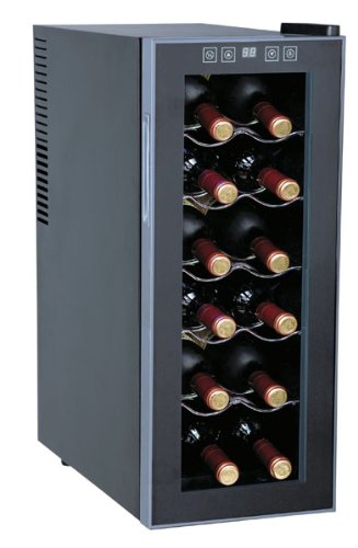 WC-1271 10 Freestanding Wine Cooler with 12-Bottle Capacity 5 Slide-Out Chrome Shelves ThermoElectric Technology No Compressor/Vibration: in Black ()
