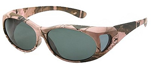 Fit Camo (Men and Women Unisex Polarized Fit Over Oval Frame Camouflage Print Sunglasses - Wear Over Prescription Glasses. Pink Camo (Carrying Case Included))