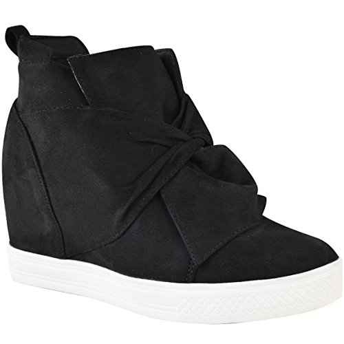 Knot Sole Size Faux Fashion Womens Wedges Tops Bow Hi Sneakers White High Suede Shoes Trainers Thirsty Heel Mid Black UUwZrOSPq