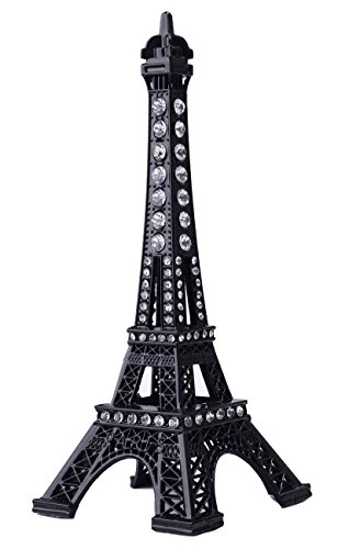 JoyFamily Eiffel Tower Cake Topper, 7 Inch (18 cm) Metal Paris Eiffel Tower Decor Statue Figurine Replica Drawing Room Table Decor for Gifts, Party and Home Decoration (Black)