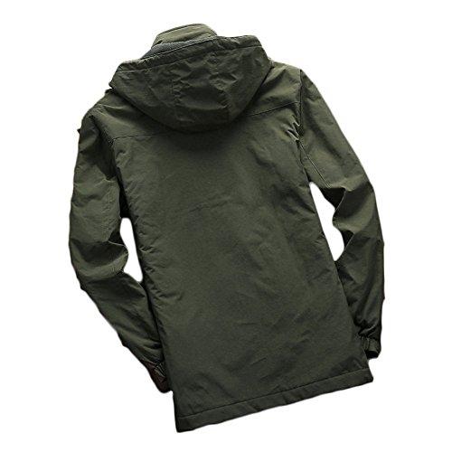 Armygreen Para Chaqueta Plus Men's Long De Velvet Terciopelo Winter Outdoor Hombre Secado Rápido Color Sólido 6dxdURwC