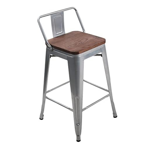 Farmhouse Barstools HAOBO Home 24″ Low Back Metal Counter Stool Height Bar Stools with Wooden Seat [Set of 4] Barstools, Silver farmhouse barstools