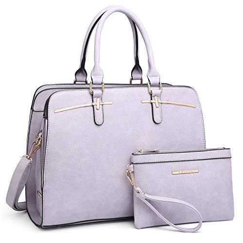 (Women Handbag Fashion Satchel Multi Pockets Purse 2 Pieces Set Triple Compartment Shoulder Bag Faux Leather)
