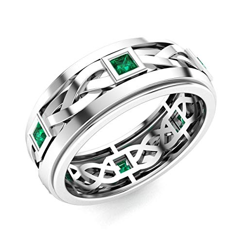 Bridal White Gold Band Celtic (Diamondere Natural and Certified Princess Cut Emerald Wedding Band Ring in 14k White Gold | 0.60 Carat Celtic Knot Ring for Mens, US Size 9)