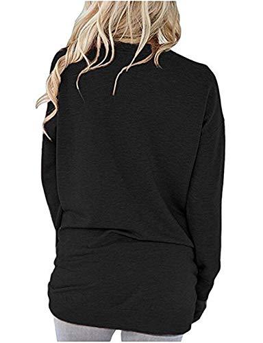 Pulls T Shirts Casual Sweat Shirts Hauts Tees Blouse Noir Jumpers Manches Automne et Rond Longues Tops Femmes Unie Col Couleur Printemps q1ATPy