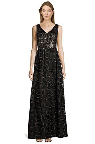 David Meister Sequin Embellished V-Neck Sleeveless Evening Gown Dress Black