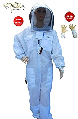 Oz Armour Beekeeping Full Suit Ventilated Ultra Cool With Hood 3 Layers Mesh With Cow Hide Ventilated Beekeeping Gloves