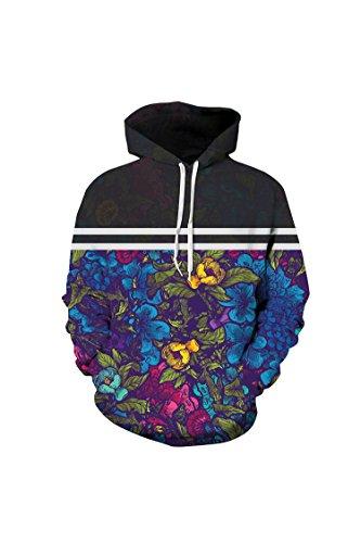 Unisex Realistic Floral Colorblock Pullover Hoodie Hooded Sweatshirt XXL Black