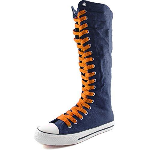 Dailyshoes Toile Femme Mi-mollet Bottes Hautes Casual Sneaker Punk Plat, Bottes Bleu Marine, Dentelle Orange Douce