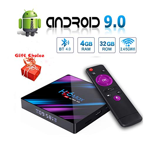 H96 MAX Android 9.0 TV Box 4GB 32GB Smart Android TV Box USB 3.0/BT 4.0/2.4G 5G Dual WiFi/3D/4K/H.265/ KD18.1 Android…