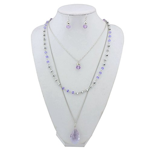 BOCAR New Fashion 3 Layer Jewelry Set Long Chain Pendant Bead Necklace Earring for Women (NK-10036-lilac)