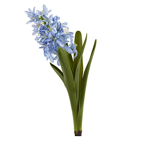 Nearly Natural 2196-S4-BL 13 in. Hyacinth Artificial (Set of 4) Silk Flowers Blue