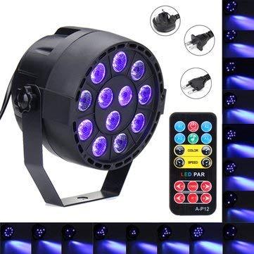 36W 12 LED UV Purple DMX Par Bar DJ Show Stage Lighting for Halloween AC90-240V - Indoor Lighting Stage Lights - (EU plug) - 1x Solar Power Motion Sensor Light]()