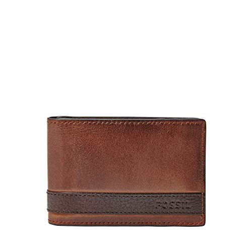 Fossil Men's Leather Money Clip Bifold Wallet, Quinn-Brown, One Size