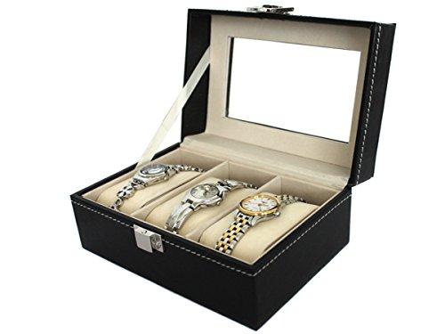 Uhrenkasten Uhrenbox Schmuckkasten mit Glasdeckel Leder Look 3er
