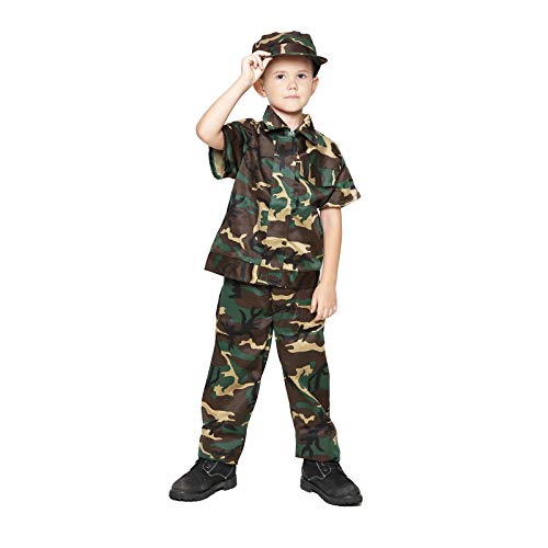 Kids Camo Camouflage Army Military Soilder Jumpsuit Halloween Costume - Woodland-Short-L]()
