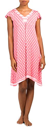 - ELLEN TRACY Geo Print Flutter Sleeve Lounge Dress/Nightgown/Cover-up (Coral w/Cream Geometric Print Striped Neckline Hemline Detail, X-Large)