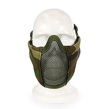 Máscara de malla de media cara haoYK, estilo militar, cómoda, ajustable, táctica