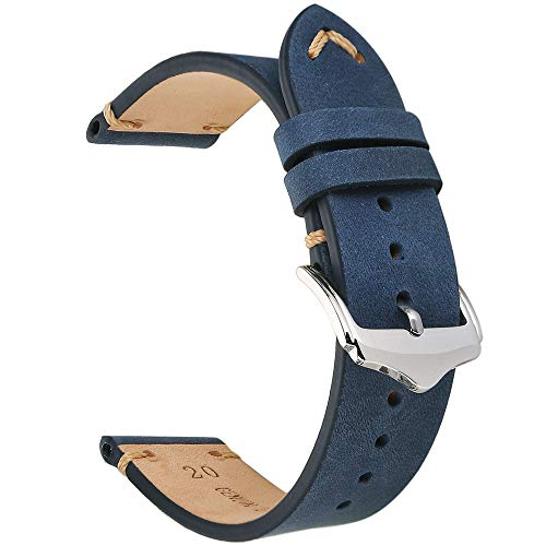 EACHE 20mm Genuine Leather Watch Band Dark Blue Crazy Horse Replacement Straps (Navy Leather Watch Strap)