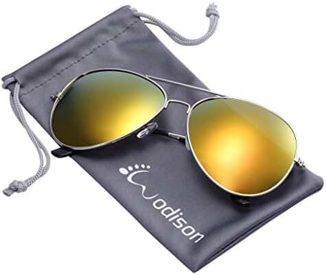 WODISON Vintage Reflective Mirror Lens Metal Frame Aviator Sunglasses