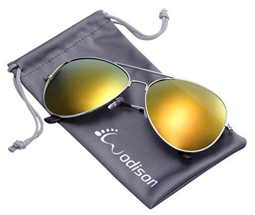 (WODISON Vintage Mirrored Aviator Sunglasses for Women Men Reflective Lens Metal Frame)