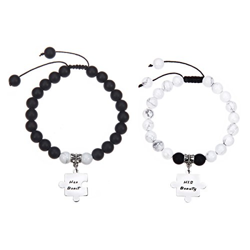 Meibai His and Hers Natural Stone Beaded Couples Bracelet with Stainless Steel Puzzle Charm for Lover (Her Beast(Matte Onyx)&His Beauty(Howlite)) by Meibai