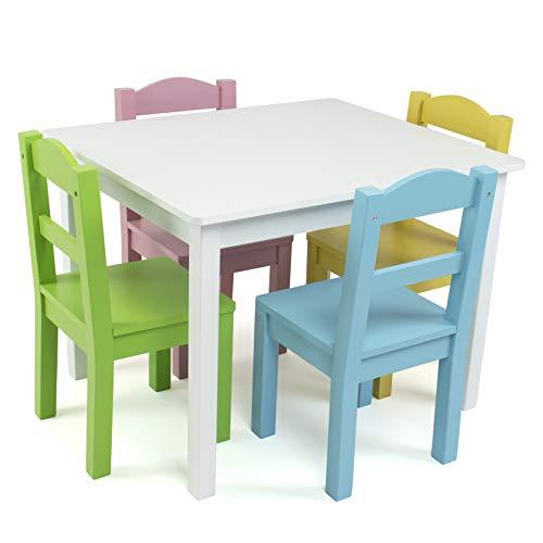 Tot Tutors Wood Table & 4 Chair Set, White/Pastel