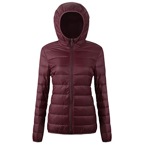 Women's Packable Down Jacket II Puffer Ultra Light Weight Short Hooded Coat with Travel Bag