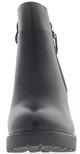 7 Gomma Coccodrillo Tacco E Stivali Centimetri Sguardo Grosso Donna Lucida Chaussmoi Pelle 5 Nera Con 8qPSR