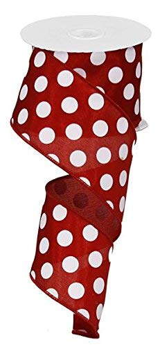 Polka Dot Wired Edge Ribbon - 2.5