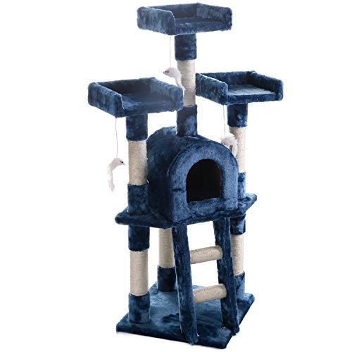 Hot Sale! Cat Tree Post Scratcher Furniture Play House Pet Bed Kitten Toy Navy blue (Condo Scratcher Furniture Pet)