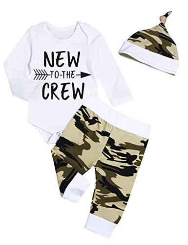 Pasgeboren Baby Boy Kleding Baby Nieuw bij de Crew Romper lange broek+Hat Outfits Set