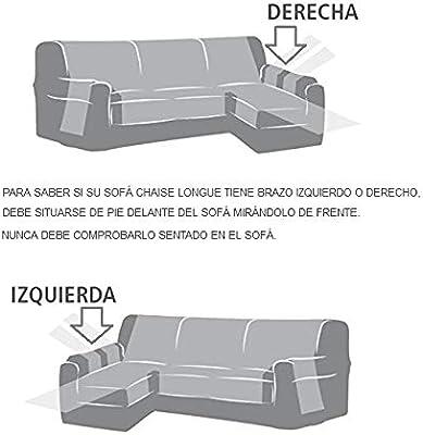 Jarrous Funda Chaise Longue Elástica Modelo Comino, Color Cardenal-Beige, Medida Brazo Izquierdo – 240-280cm (Mirándolo de Frente)