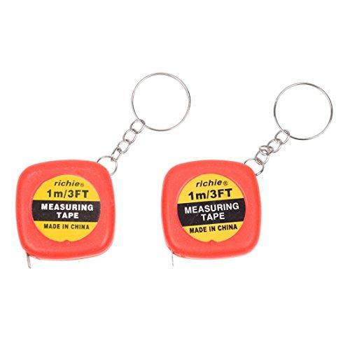 TOOGOO(R) 2 Pcs Multifunction Red Case 1 Meter 3 Feet Mini Tape Measure w Key Ring