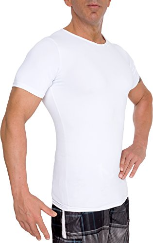 LISH Men's Slimming Light Compression Crew Neck Shirt - Short Sleeve Body Shaper T-Shirt for Weight Loss (White, Large)
